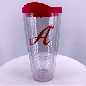 """Tervis 24 Ounce Tumbler With Pink Lid Initial """"A"""""""